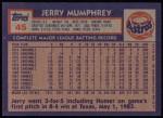 1984 Topps #45  Jerry Mumphrey  Back Thumbnail