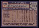 1984 Topps #61  Chris Codiroli  Back Thumbnail