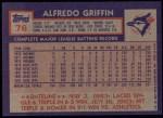1984 Topps #76  Alfredo Griffin  Back Thumbnail
