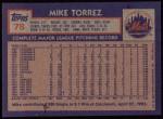 1984 Topps #78  Mike Torrez  Back Thumbnail