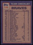 1984 Topps #126   -  Dale Murphy / Craig McMurtry Braves Leaders & Checklist Back Thumbnail