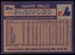 1984 Topps #180  Manny Trillo  Back Thumbnail