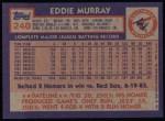 1984 Topps #240  Eddie Murray  Back Thumbnail