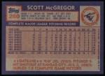 1984 Topps #260  Scott McGregor  Back Thumbnail