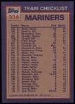 1984 Topps #336   -  Pat Putnam / Matt Young Mariners Leaders & Checklist Back Thumbnail