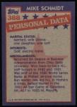1984 Topps #388   -  Mike Schmidt All-Star Back Thumbnail