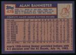 1984 Topps #478  Alan Bannister  Back Thumbnail