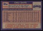 1984 Topps #494  Chili Davis  Back Thumbnail