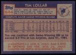 1984 Topps #644  Tim Lollar  Back Thumbnail