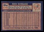 1984 Topps #670  Goose Gossage  Back Thumbnail