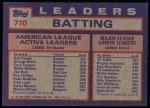 1984 Topps #710   -  Rod Carew / George Brett / Cecil Cooper AL Active Career Batting Leaders Back Thumbnail