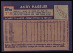 1984 Topps #719  Andy Hassler  Back Thumbnail
