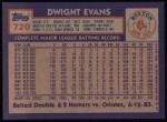 1984 Topps #720  Dwight Evans  Back Thumbnail