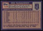 1984 Topps #724  Eric Rasmussen  Back Thumbnail
