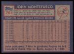 1984 Topps #761  John Montefusco  Back Thumbnail