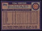 1984 Topps #117  Tom Veryzer  Back Thumbnail