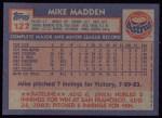 1984 Topps #127  Mike Madden  Back Thumbnail