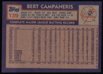1984 Topps #139  Bert Campaneris  Back Thumbnail