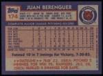 1984 Topps #174  Juan Berenguer  Back Thumbnail