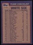 1984 Topps #216   -  Carlton Fisk / Rich Dotson White Sox Leaders & Checklist Back Thumbnail
