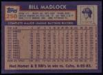 1984 Topps #250  Bill Madlock  Back Thumbnail