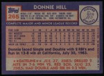 1984 Topps #265  Donnie Hill  Back Thumbnail