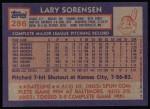 1984 Topps #286  Lary Sorenson  Back Thumbnail