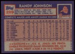 1984 Topps #289  Randy Johnson  Back Thumbnail