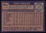 1984 Topps #309  Tony Phillips  Back Thumbnail