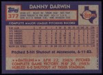 1984 Topps #377  Danny Darwin  Back Thumbnail