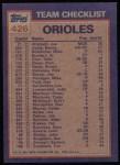 1984 Topps #426   -  Mike Boddicker / Cal Ripken Jr. Orioles Leaders & Checklist Back Thumbnail