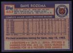1984 Topps #457  Dave Rozema  Back Thumbnail