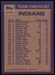 1984 Topps #546   -  Mike Hargrove / Larry Sorenson Indians Leaders & Checklist Back Thumbnail