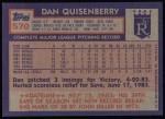 1984 Topps #570  Dan Quisenberry  Back Thumbnail