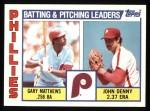1984 Topps #637   -  John Denny / Greg Mathews Phillies Leaders & Checklist Front Thumbnail