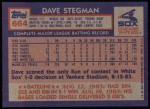 1984 Topps #664  Dave Stegman  Back Thumbnail