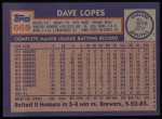 1984 Topps #669  Dave Lopes  Back Thumbnail