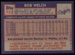 1984 Topps #722  Bob Welch  Back Thumbnail