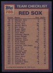 1984 Topps #786   -  Bob Ojeda / Wade Boggs Red Sox Leaders & Checklist Back Thumbnail