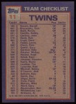 1984 Topps #11   -  Ken Schrom / Kent Hrbek Twins Leaders & Checklist Back Thumbnail