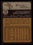 1973 Topps #118  John Mayberry  Back Thumbnail