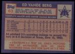 1984 Topps #63  Ed VandeBerg  Back Thumbnail