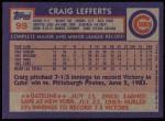1984 Topps #99  Craig Lefferts  Back Thumbnail
