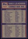 1984 Topps #137  Rick Honeycutt / Atlee Hammaker  Back Thumbnail