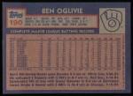 1984 Topps #190  Ben Oglivie  Back Thumbnail