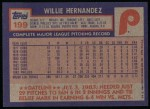 1984 Topps #199  Willie Hernandez  Back Thumbnail
