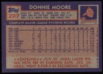 1984 Topps #207  Donnie Moore  Back Thumbnail