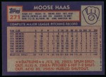 1984 Topps #271  Moose Haas  Back Thumbnail