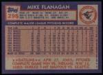 1984 Topps #295  Mike Flanagan  Back Thumbnail
