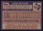 1984 Topps #299  John Butcher  Back Thumbnail